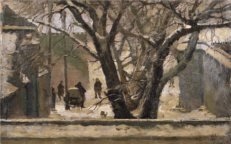东总布胡同  布面油画  33x52cm  1947  私人收藏.jpg