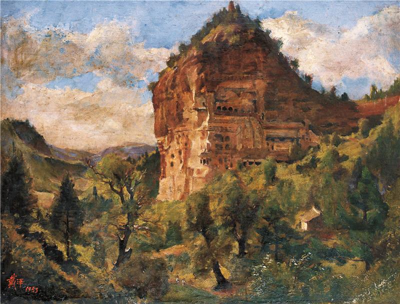 麦积山石窟  木板油画  40x53cm  1953  艺术家自藏.jpg