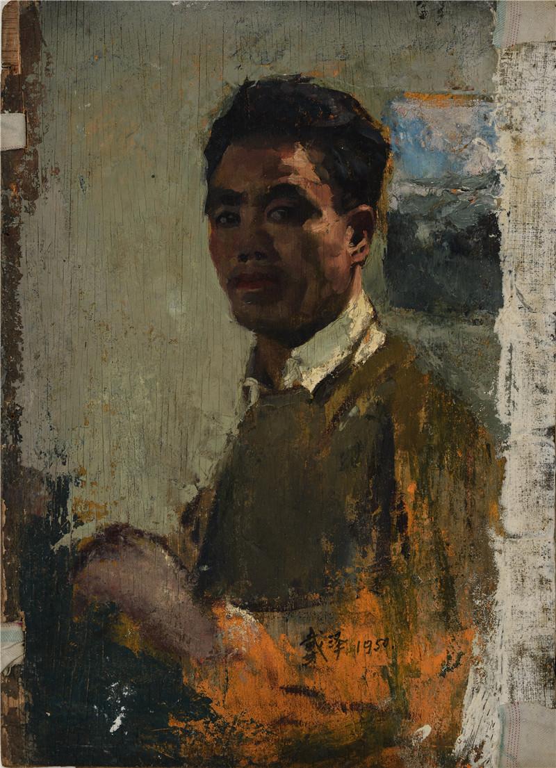 自画像  木版油画  30.5x43cm  1950  艺术家自藏.jpg
