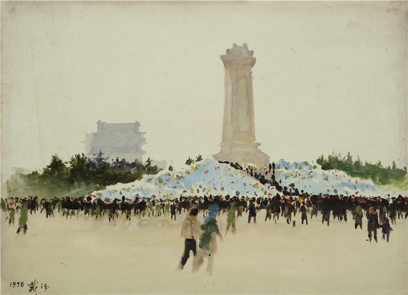 周总理去世  纸本油画  54x39.5cm  1976  艺术家自藏.jpg