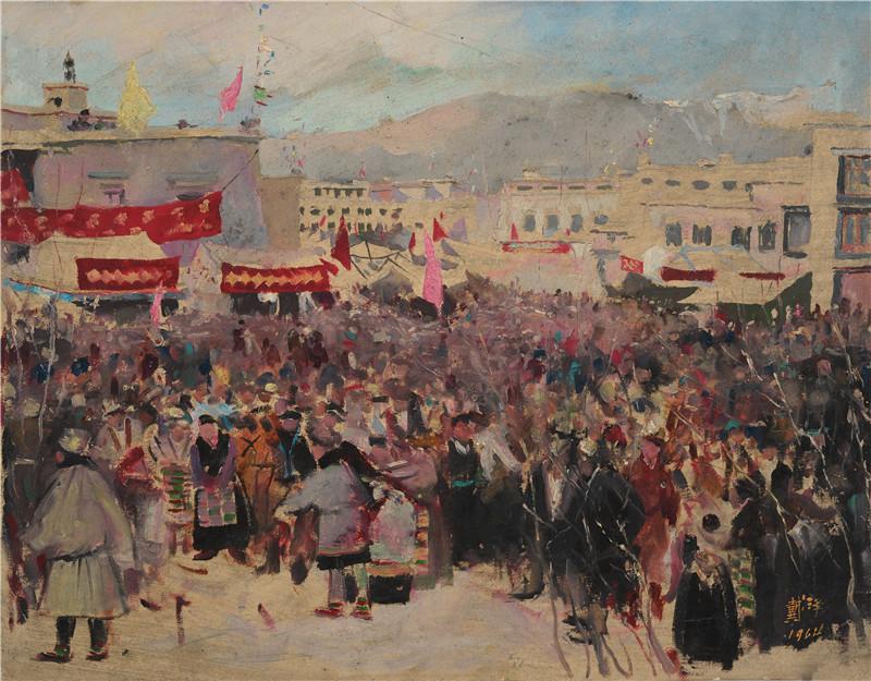 拉萨春节  纸本油画  52x40cm  1964  艺术家自藏.jpg