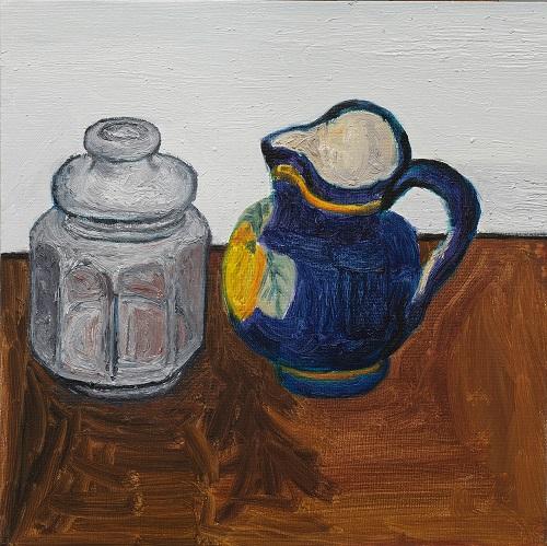 贾涤非,蓝色的罐子A BLUE JUG木板布底油彩Oil painting on wood-backed canvas30×30cm2015副本.jpg