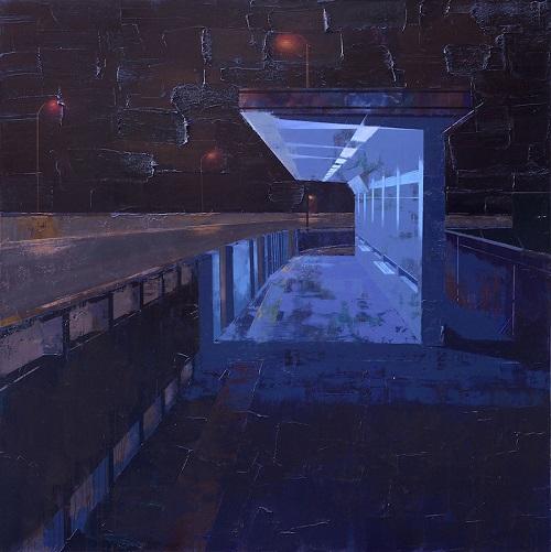 马佳伟,夜话:等待,200x200cm,布面油画,2018 .jpg