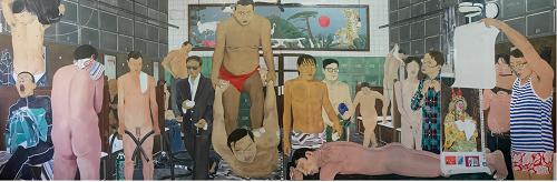 马晓腾,公共浴室, 205x632cm, 布面丙烯, 2015-2017, 两件作品拼合分别为205x318cm).png