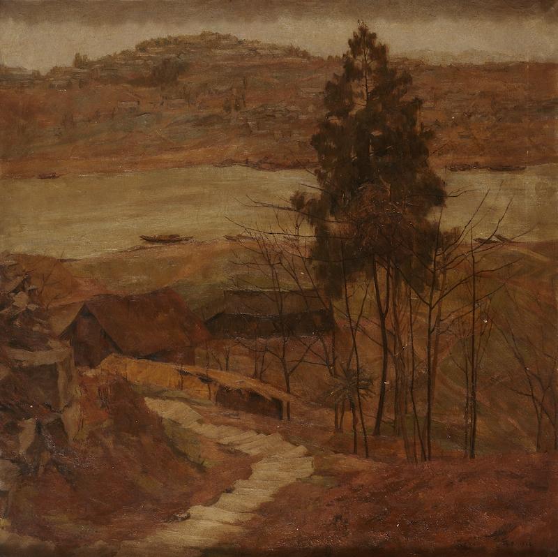 李瑞年 嘉陵江两岸 1944年 油画 75×75cm.jpg