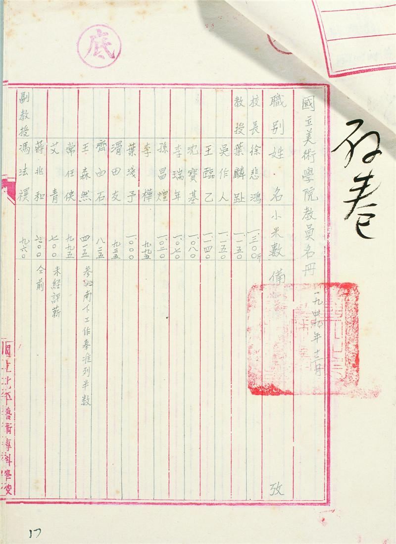 图17 国立美术学院教员名册(1949年12月).jpg