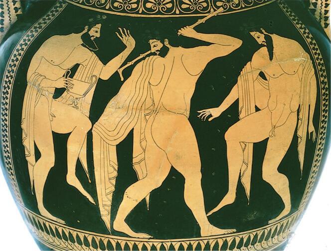"""红绘画家西米德斯""""三个醉汉跳舞"""" 公元前500年.jpg"""