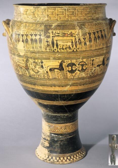 古希腊早期青铜雕像与几何时期陶瓶上的彩绘人物大致等大.jpg