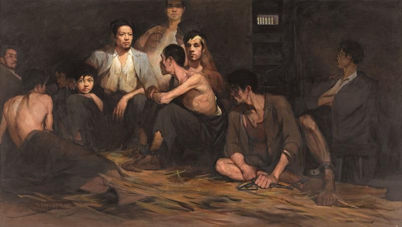 1961 林岗 狱中 油画 160x282cm 1961 中国国家博物馆藏.jpg
